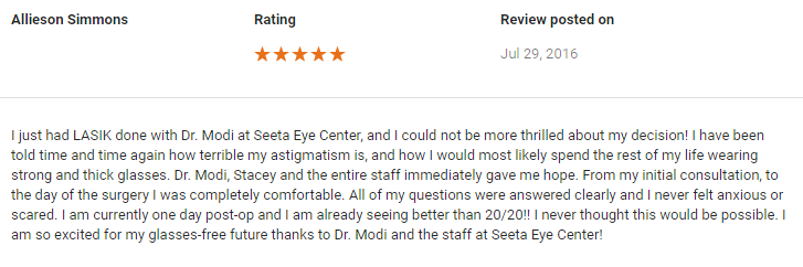 lasik eye surgery review for Seeta Eye Centers Poughkeepsie